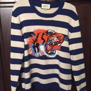 c649c838b87 Gucci Sweaters - Gucci striped wool sweater with tiger head